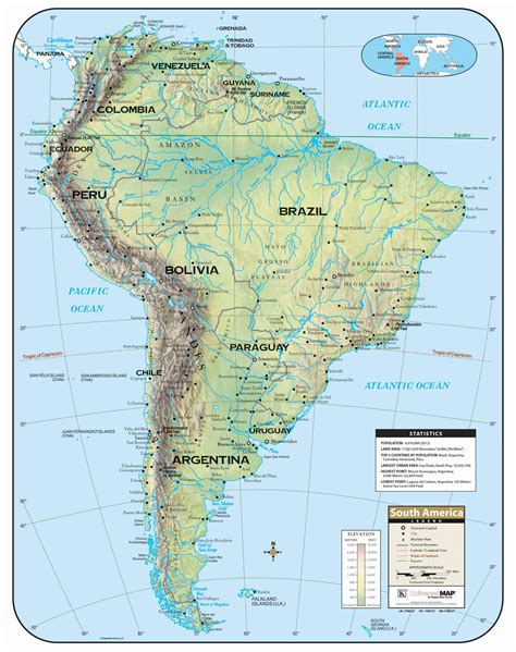 south america shaded relief wall map kappa map group