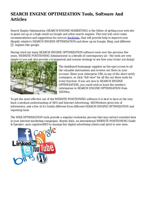 search engine optimization articles search engine optimization tools software and articles