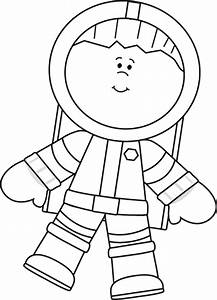 Black and White Boy Astronaut Floating Clip Art - Black ...