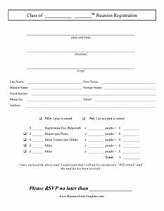 Class reunion registration template for High school registration form template