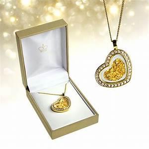 Valentinstag Geschenke Auf Rechnung : herz halskette mit 23 karat blattgold und strass steinen schmuck ~ Themetempest.com Abrechnung