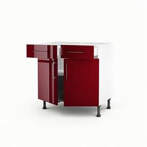 Meuble Bas Porte : meuble de cuisine bas rouge 2 portes 2 tiroirs griotte h ~ Edinachiropracticcenter.com Idées de Décoration