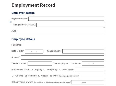 employment information sheet record of employee information form format word and excel