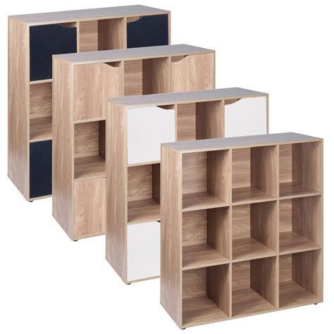 cube shelf unit 9 cube oak wooden bookcase shelving display modular