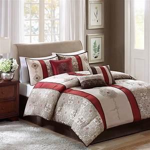 New, King, Size, Donovan, 7, Piece, Jacquard, Comforter, Set, Red