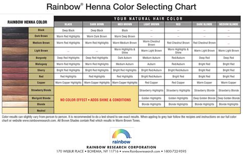 rainbow henna color chart henna
