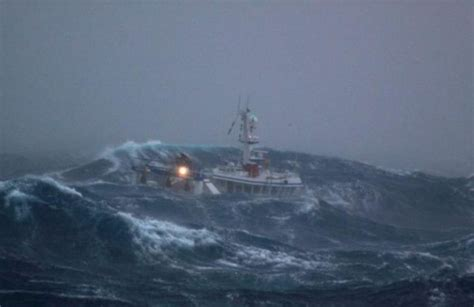 Fishing Boat Battered By Waves (7 Pics
