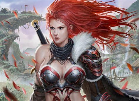 warriors redhead girl armor breast fantasy girls
