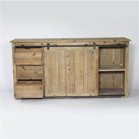 meuble bas cuisine porte coulissante buffet industriel porte coulissante 6 tiroirs bois made