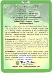 Green True Colors Personality Cards