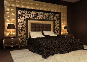 romantic interior double bed in golden luxurious interior With best brand of paint for kitchen cabinets with papiers peints de luxe