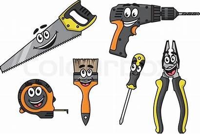 Cartoon Tools Diy Characters Vector Happy