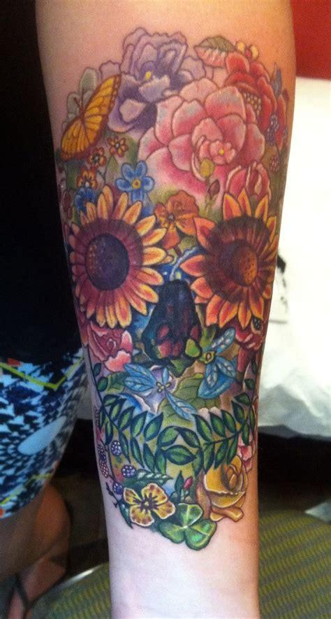 wild flower skull tattoo   sean ambrose  arrows  embers custom tattoo concord nh usa