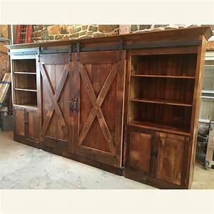 Barn door entertainment cabinet with x barn doors for Barn door furniture company