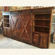 Barn Door Entertainment Cabinet With X Barn Doors