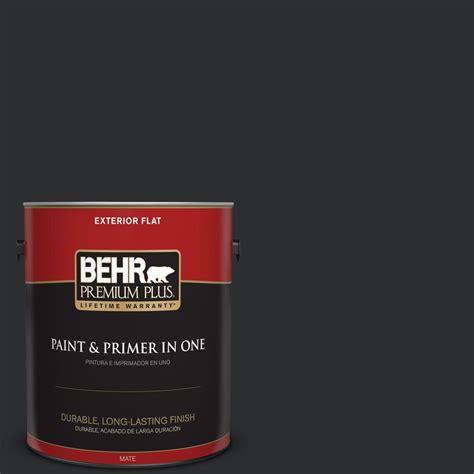 behr premium plus 1 gal ecc 10 2 jet black flat exterior paint and primer in one 430001 the