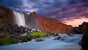 Waterfall, Wall, Of, Red, Cliffs, Dark, Clouds, Hd, Wallpaper