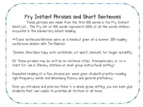 Free Fry's Short Sentences And Phrases For Fluency By Carrie's Creations