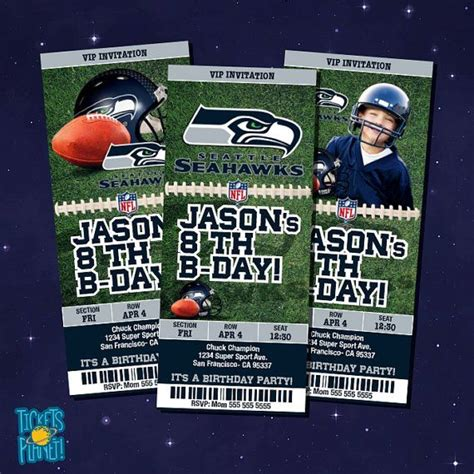 seahawks  birthday invitation card  ticketsplanet