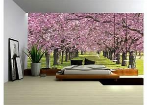 Wallpaper Mural ''FLOWERING TREES'' Fleece Photo Wallpaper ...