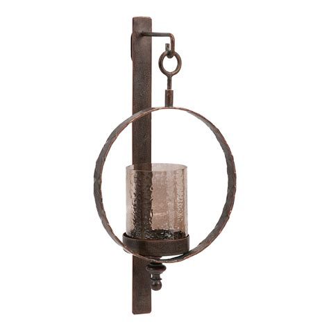 rustic wood signs circle wall candle sconce