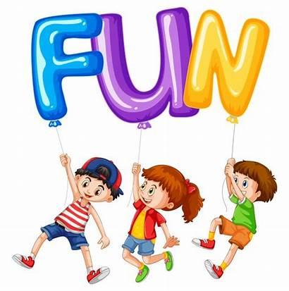 Word Fun Children Vector Clipart Balloons Premium