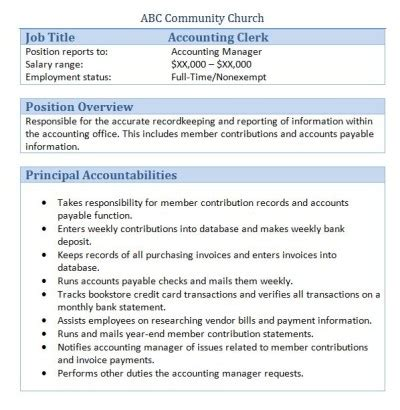 free resume for accounting clerk 45 free downloadable sle church job descriptions