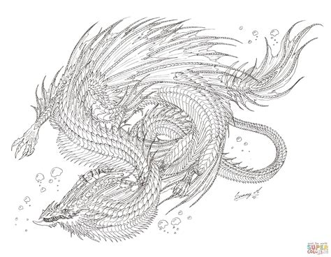 Sea Serpent Dragon Coloring Page Free Printable Coloring