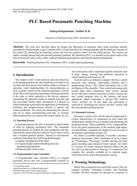 (PDF) PLC Based Pneumatic Punching Machine