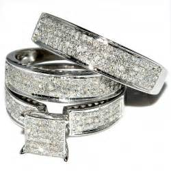 his and hers wedding rings sets his and trio wedding rings set 1ct w diamonds 10k