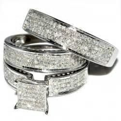 His And Her Trio Wedding Rings Set 1ct W Diamonds 10k