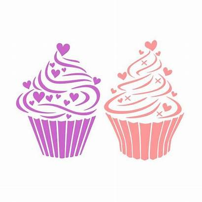 Cupcake Svg Hearts Cuttable Cricut Silhouette Designs
