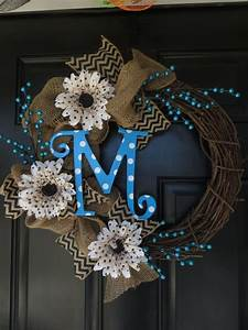 Burlap wreath with monogram initials love this and for Alphabet letter wreaths