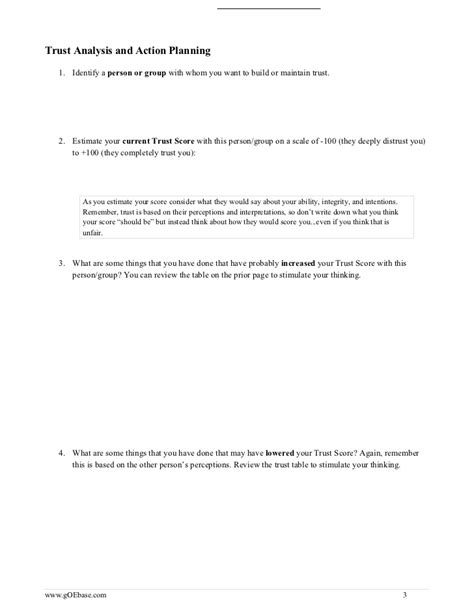 building trust worksheet
