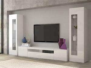 Ensemble Meuble Tv Conforama : ensemble meuble tv laqu blanc brillant design rimini ~ Dailycaller-alerts.com Idées de Décoration