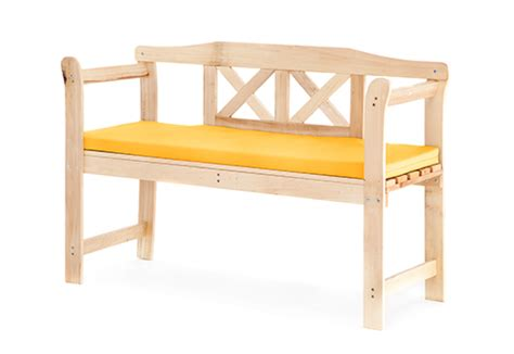 yellow outdoor bench yellow cushion pad for small outdoor home wooden 2 seat