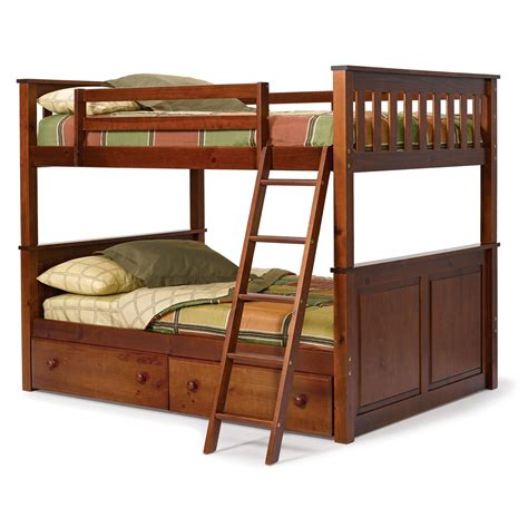 loft bed modern bedroom with unstained wooden oak bunk bed