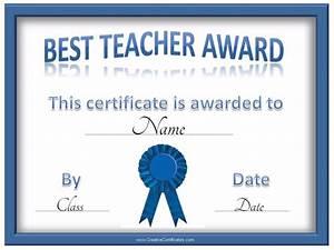 Best Teacher Certificate Certificate Templates