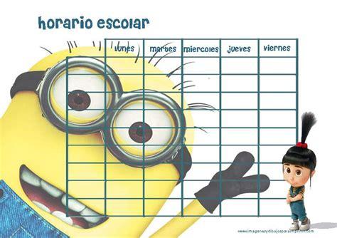 imprimir horarios escolares de minions imagenes y dibujos para imprimir