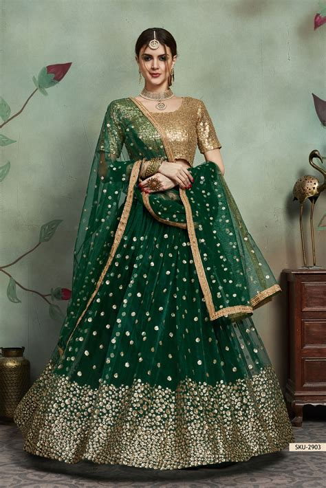 buy dark green net sequins wedding lehenga  uk usa  canada