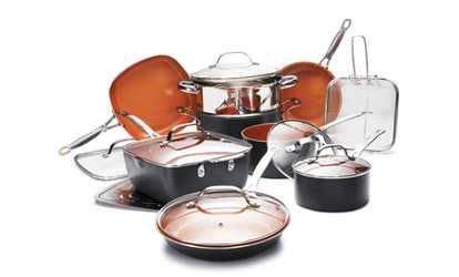 image  gotham steel    copper  stick cookware set  piece cookware set