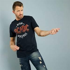 Kiabi T Shirt Homme : tee shirt manches courtes 39 ac dc 39 homme noir kiabi 13 00 ~ Nature-et-papiers.com Idées de Décoration