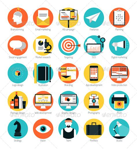 marketing services company marketing and design services flat icons set by bloomicon
