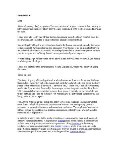 Complaint Letter Sample | Restaurants