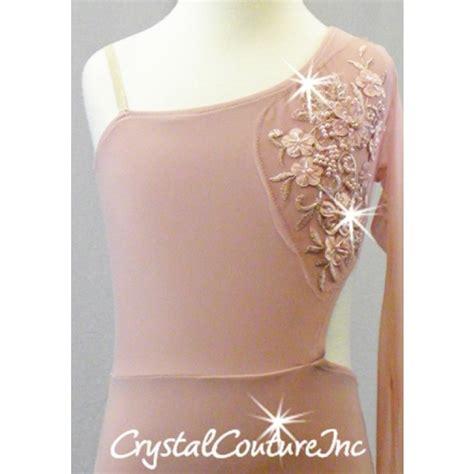 applique swarovski couture vintage pink asymmetrical leotard with