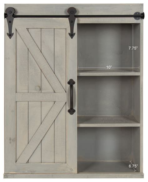 wood wall storage cabinet  sliding barn door