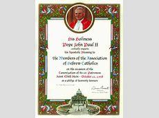Papal Blessing Association of Hebrew Catholics