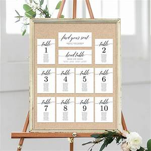 Table Seating Chart Cards Modern Script  Msc