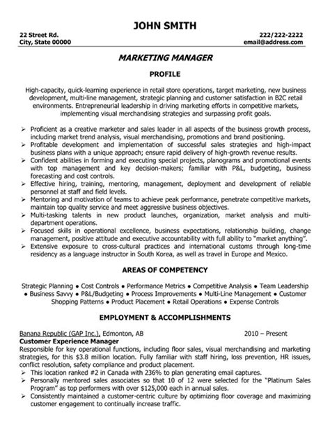 Marketing Manager Experience Resume by Marketing Manager Resume Template Premium Resume Sles