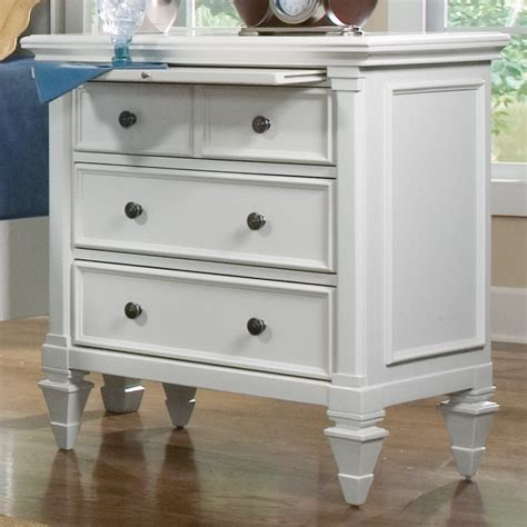 Ashby Wood Three Drawer Nightstand In White  Humble Abode